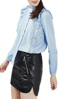 Topshop Women's Ruffle Stripe Poplin Shirt