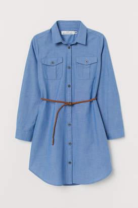 H&M Generous Fit Shirt Dress - Blue