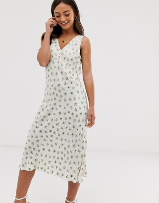 Ghost summer satin bias cut floral midi slip dress-White