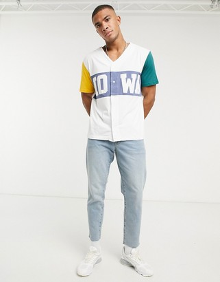 ASOS DESIGN relaxed button through t-shirt with colour block panels and text print