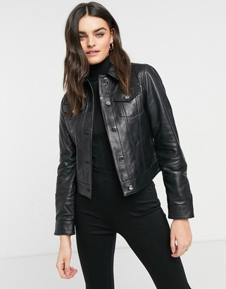 Lab Leather trucker jacket in black leather