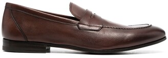 Henderson Baracco Almond-Toe Leather Loafers