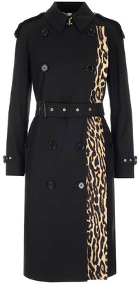 Burberry Belted Leopard Print Detail Trench Coat