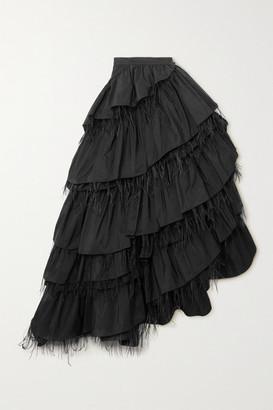 Dries Van Noten Feather-trimmed Ruffled Taffeta Maxi Skirt - Black