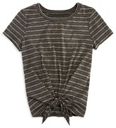 Aqua Girls' Striped Tie Front Tee , Big Kid - 100% Exclusive