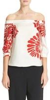 Tibi Women's Orla Bloom Silk Off The Shoulder Top