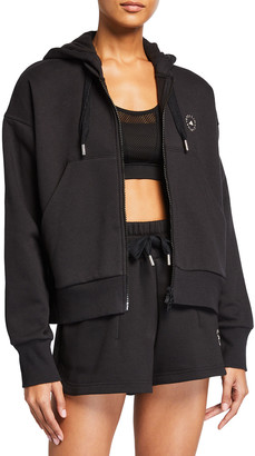 adidas by Stella McCartney Cropped Zip-Front French-Terry Hoodie
