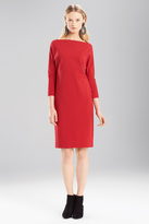 Josie Natori Double Knit Jersey Boatneck Dress