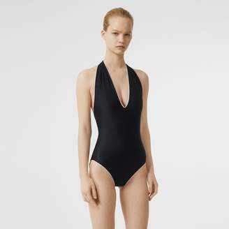 Burberry Piping Detail Halterneck Swimsuit