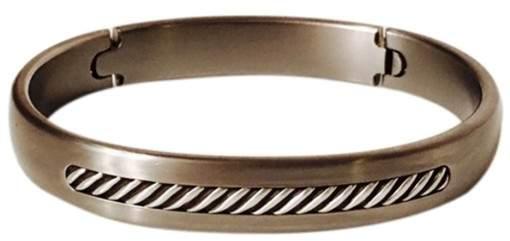 David Yurman Titanium & 925 Sterling Silver Inset Cable Hinged Bracelet