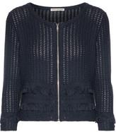 Autumn Cashmere Frayed Open-Knit Cotton Jacket