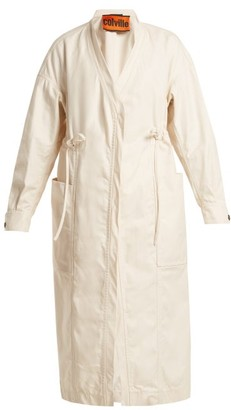 Colville - Tie-waist Cotton-gabardine Parka - Womens - Ivory
