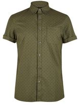 Burton Mens Tall Khaki Short Sleeve Oxford Print Shirt
