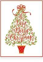 Caspari Embossed Christmas Tree Christmas Cards, Box of 10