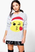 Boohoo Scarlett Kiss Emoji Christmas Jumper