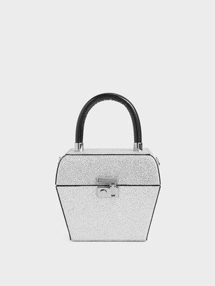 Charles & Keith Glitter Sculptural Top Handle Bag