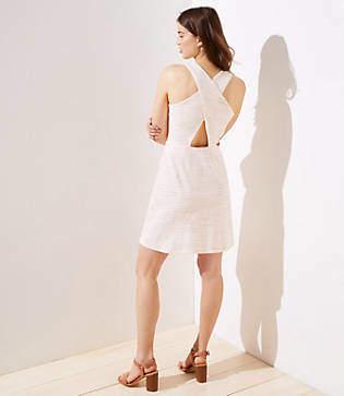 LOFT Striped Criss Cross Back Pocket Dress