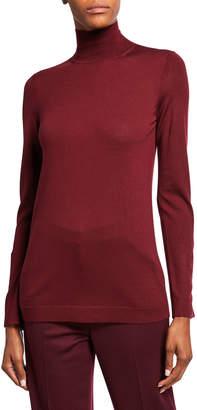 St. John Extrafine Merino Wool Jersey Turtleneck Sweater w/ Button Detailing