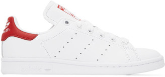 adidas White and Red Stan Smith Sneakers