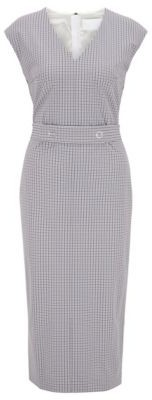 HUGO BOSS V Neck Shift Dress In Pepita Check With Belt Detail - Patterned