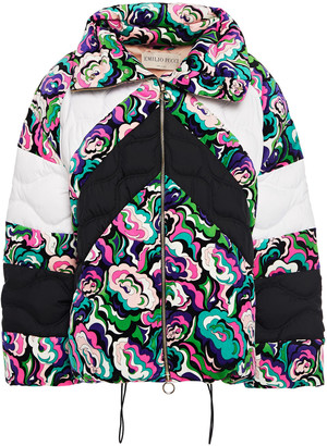Emilio Pucci Quilted Printed Velvet And Shell Down Jacket