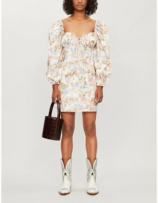 Shirley floral-print cotton mini dress