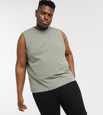 New Look Plus sleeveless tank in khaki