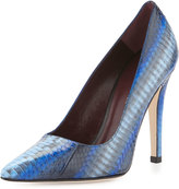 Etienne Aigner Indie Snakeskin Pointed-Toe Pump, Ink Blue/Multi