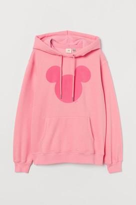 H&M Flock-print Hoodie - Pink