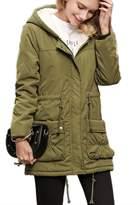 Mupoduvos Women Winter Warm Coat Parka Zip Up Cotton Hoddies Outwear Jacket XS