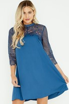 Little Mistress Dahlia Blue Crochet Lace Shift Dress