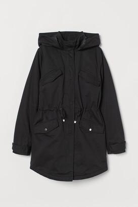 H&M Cotton Twill Parka - Black