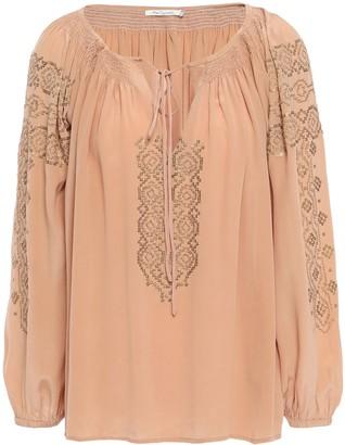 Mes Demoiselles Tara Sequin-embellished Washed-silk Top