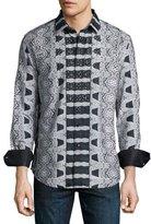 Robert Graham Limited Edition Embellished Scarf-Print Sport Shirt, Black