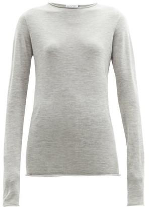 Raey Sheer Raw-edge Crew-neck Cashmere Sweater - Light Grey