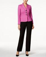 Le Suit Colorblocked Twill Three-Button Pantsuit