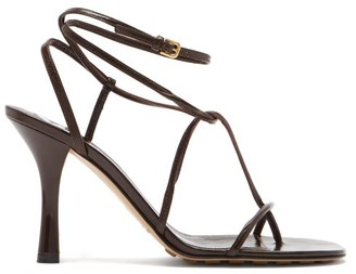 Bottega Veneta Line Wraparound Leather Sandals - Dark Brown