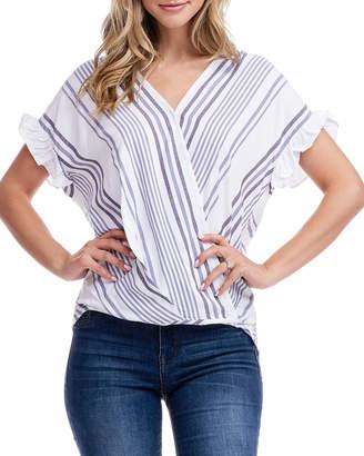 Fever Striped Surplice Short-Sleeve Top