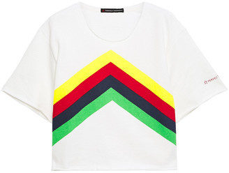 Perfect Moment Cropped Striped French Cotton-terry T-shirt