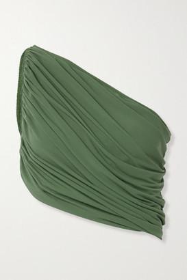 Norma Kamali Diana One-shoulder Ruched Bikini Top - Green