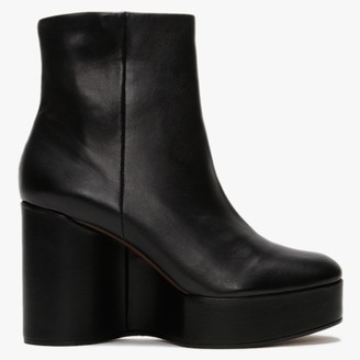 Clergerie Belen Black Leather Wedge Ankle Boots