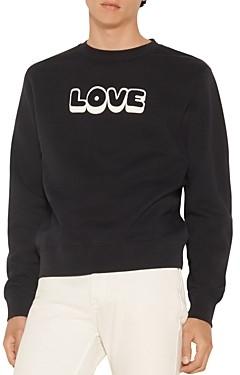 Sandro Embroidered Love Crew Sweatshirt
