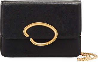 Oscar de la Renta O Chain Leather Wallet Crossbody Bag