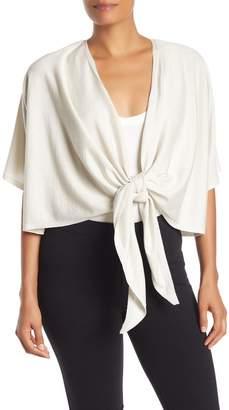 Eileen Fisher Tie Front Short Sleeve Cardigan