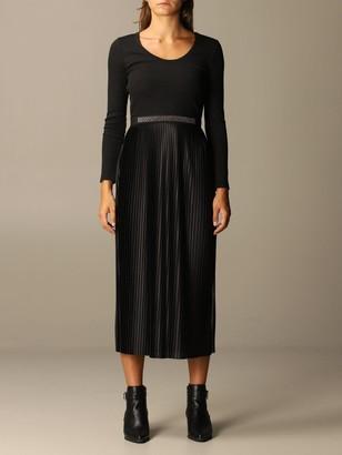 Liu Jo Long Bi-material Dress With Jewel Belt