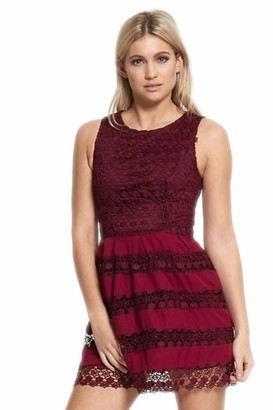 Generic Women's Lace Overlay Mini Skater Dress (12