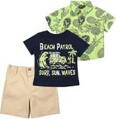 Boyz Wear Boys' Casual Shorts GREEN - Navy 'Beach Patrol' Crewneck Tee & Khaki Shorts Set - Toddler
