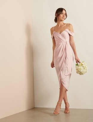 Forever New Hadley Waterfall Midi Dress - Blush - 10