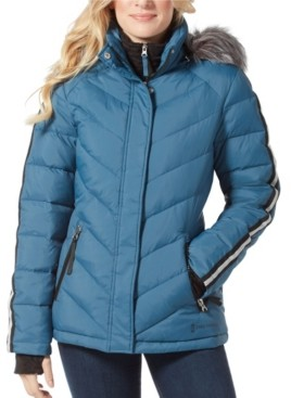 Free Country Hooded Puffer Coat with Faux Fur Hood & Interior Bib