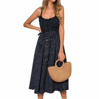 Heflashor Women Summer Dress Boho Polka Dots Printed Spaghetti Strap Midi Dress Sexy Buttons Ruffle Sleeveless Cocktail Evening Party Dress Casual Beach Sundress